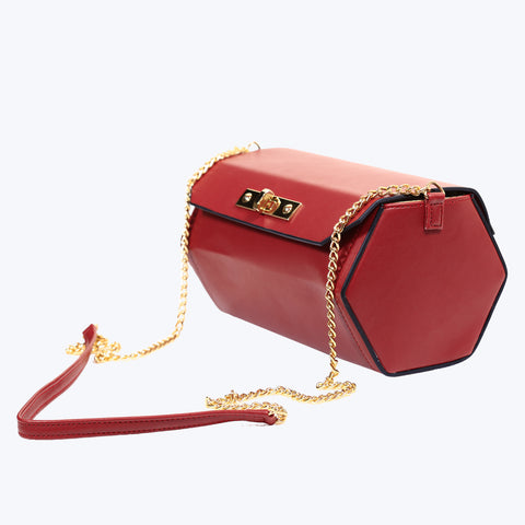 Red colour leather handbag with quilted chain