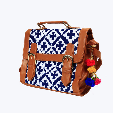 Blue with white colour shoulder bag