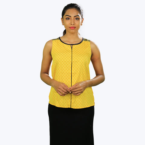 Yellow with black colour sleeve less top