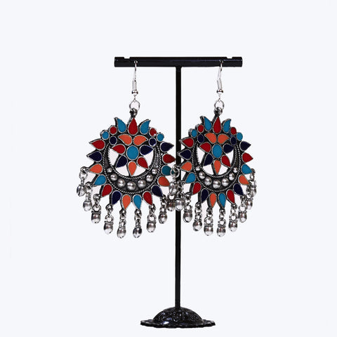 Multicoloured Flower Afghani Earrings