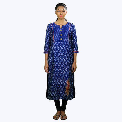 Royal blue colour printed Kurta