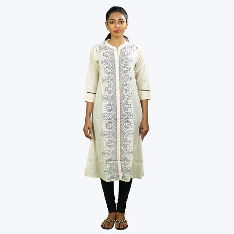 White colour printed Kurta