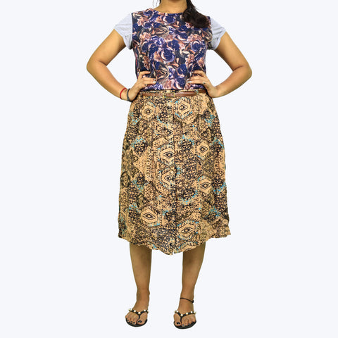 Beige colour printed Skirt