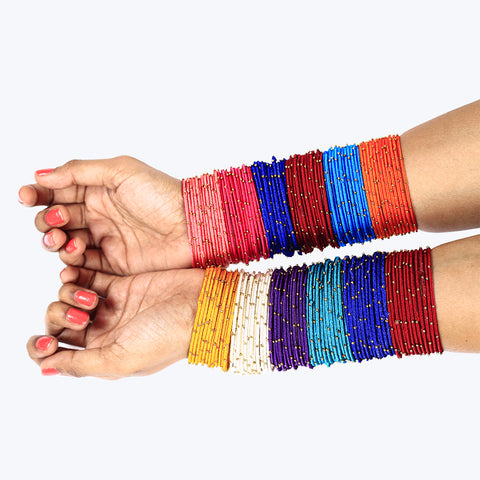 Silk thread bangles collection with golden beads