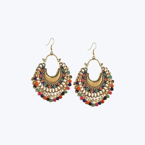 Golden coloured hook earrings with multicolour enemel and beads work