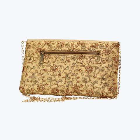 Beige coloured quilted chain shoulder bag