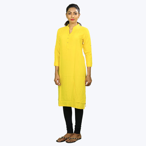 Yellow colour plain Kurta