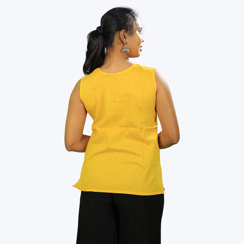 Yellow colour sleeve less top