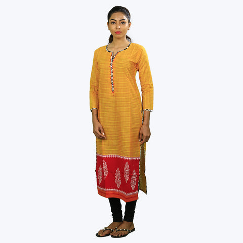 Yellow with red coloured printed Kurta