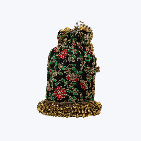 Fancy Black-Green-Red Potli bag