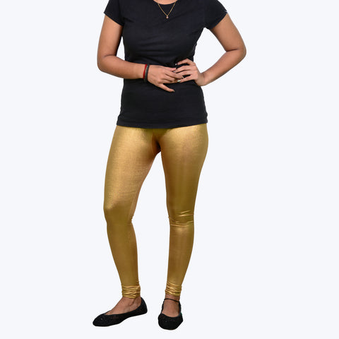 Golden coloured legging with straight fit