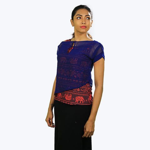 Royal blue colour printed top