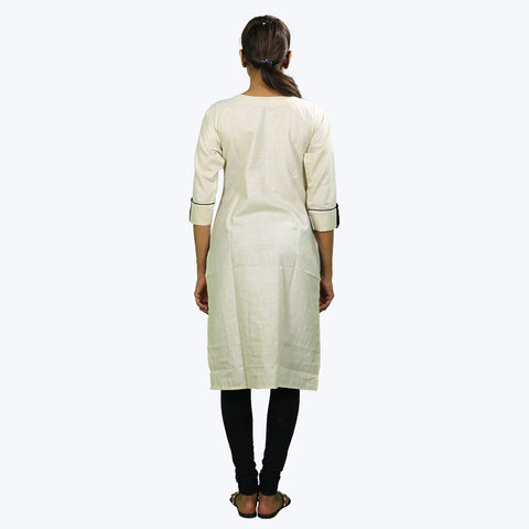 White colour embroidered Kurta
