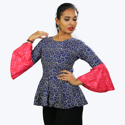 Blue colour Top with bell sleeves