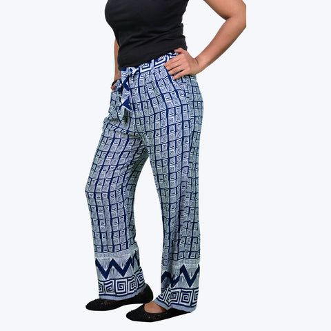 Blue with white colour cotton printed palazzos