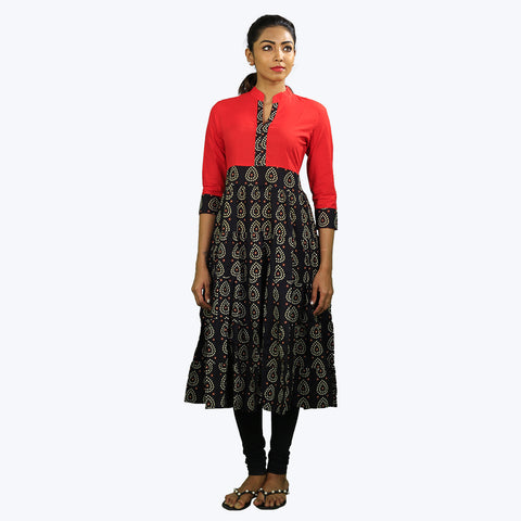 Black with red colour printed Kurta