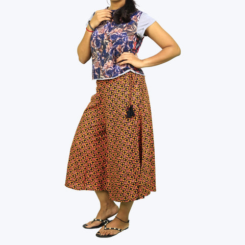Brown coloured printed culottes