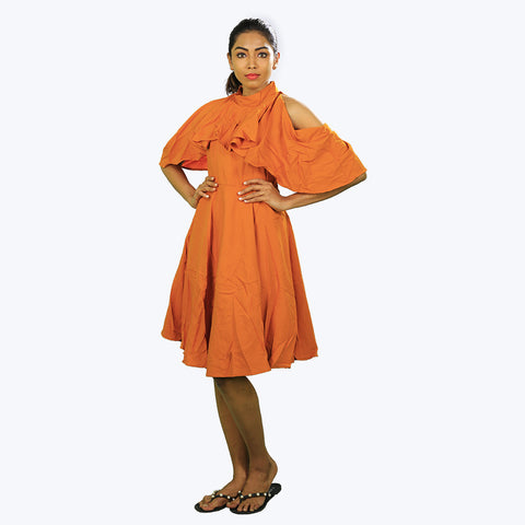 Orange coloured cown neck tunic with cold-shoulder sleeves