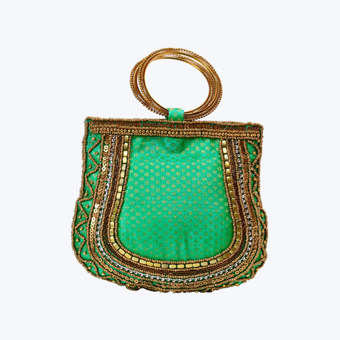Green Ethnic Party Bangle Bag