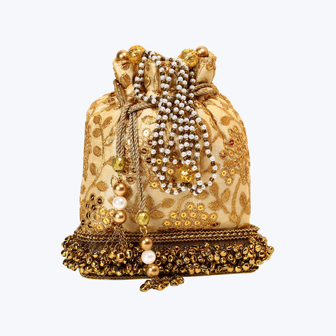 Golden Ethnic Party Potli Bag with Hangings