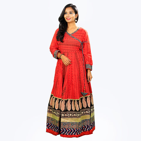 Women's Red Cotton Heavy Anarkalis