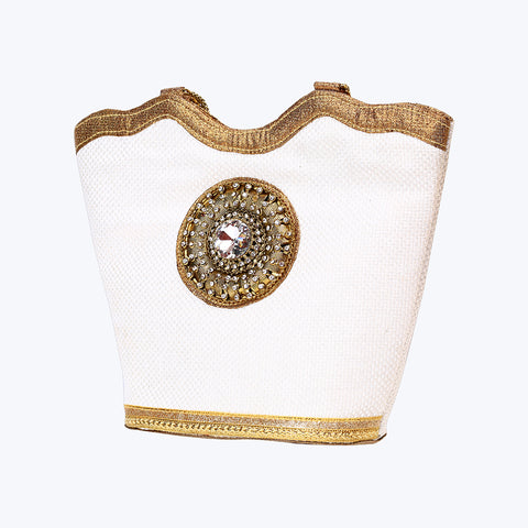 Gold-Toned White Hand Bag