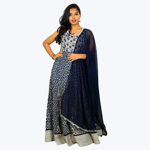 Women Navy Blue Anarkali