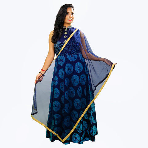Women's Blue Floral Anarkalis