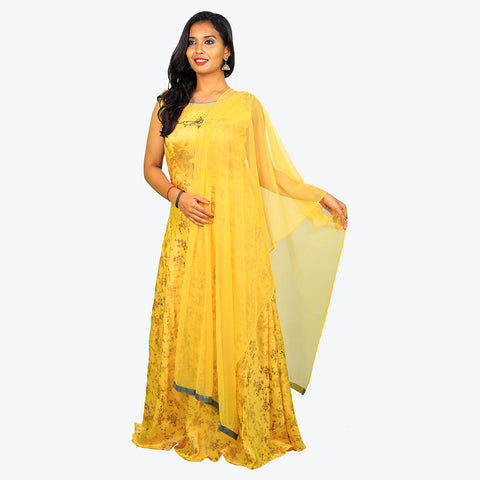 Women Light Yellow Anarkali