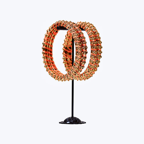Peach Gold threaded Bangle Set