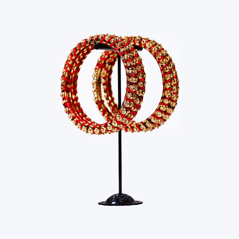 Red Gold threaded Bangle Set