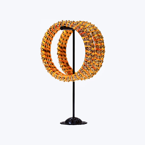 Yellow Gold threaded Bangle Set