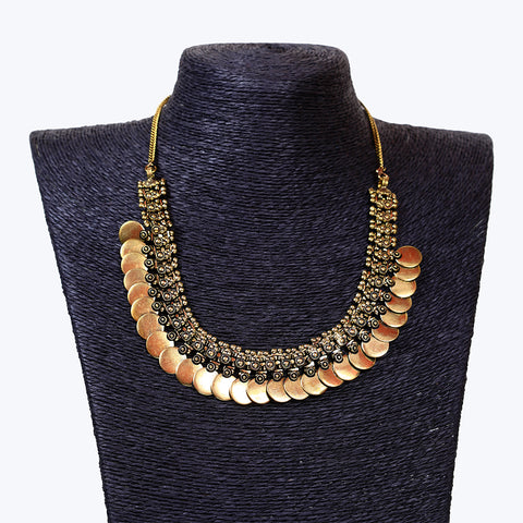 Ethnic Golden Oxidised Coin Necklace