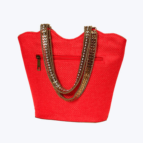 Gold-Toned Orange Hand Bag