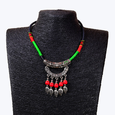Tribal Style Red beads Hanging Necklace
