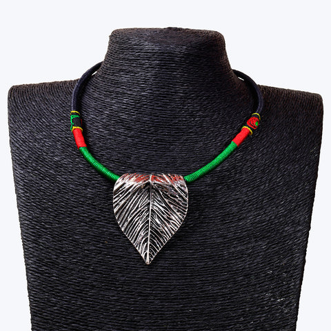 Tribal Style Ethnic leafy Pendant Necklace