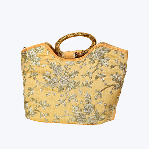 Gold-Toned Beige Hand Bag