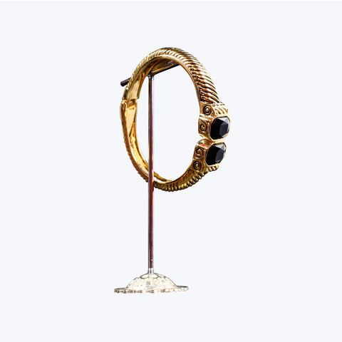 Golden Bracelet with Black Bead