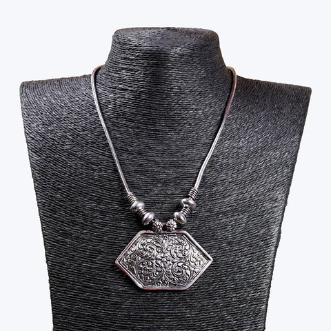 Oxidised Silver Metal Necklace For Women