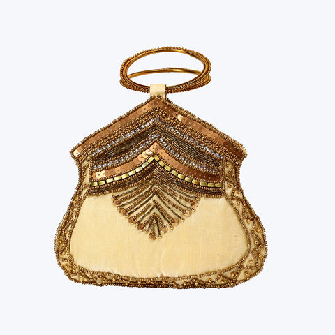 Cream Ethnic Party Bangle Bag