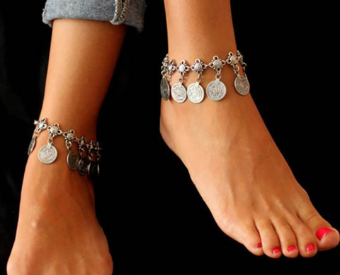 Foot Jewelry Metal Tassel Vintage Charm Coin Anklets Gift For Woman Beach Anklet