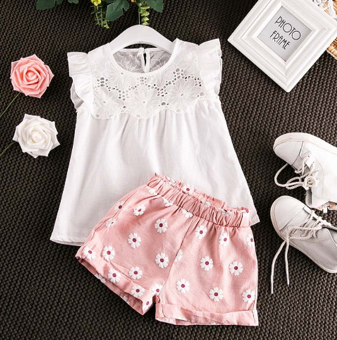 Summer Outfits Lace Tops Floral Shorts Pants Clothes Sets