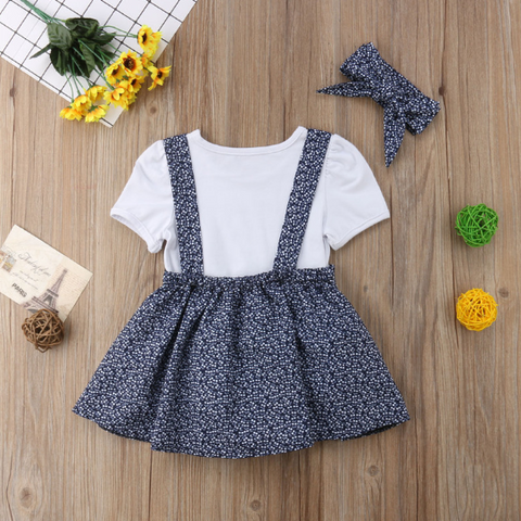 Girl Clothes Short Sleeve casual T-shirt+Skirt