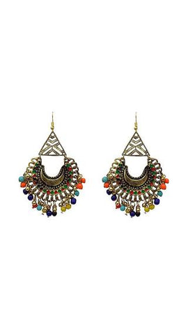 Triangle Top Multicoloured Afghani Earrings