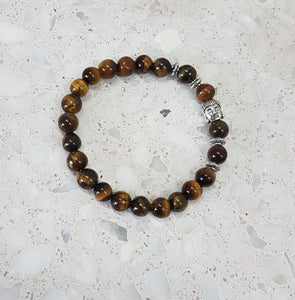 Tigers Eye Stone Bead Bracelet