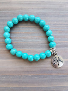 Turquoise Bracelet with Tree of Life Charm