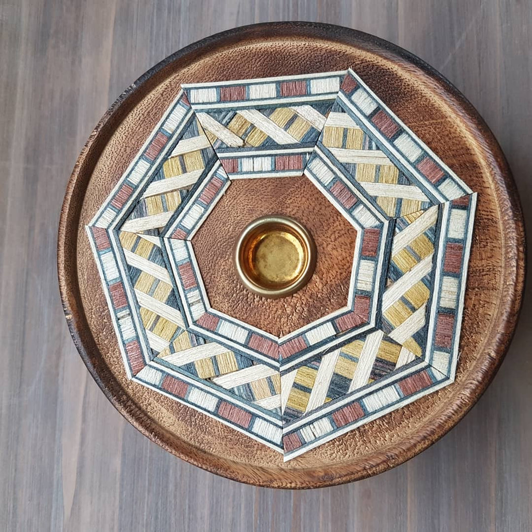 Geometric Pattern Round Plate Incense Holder