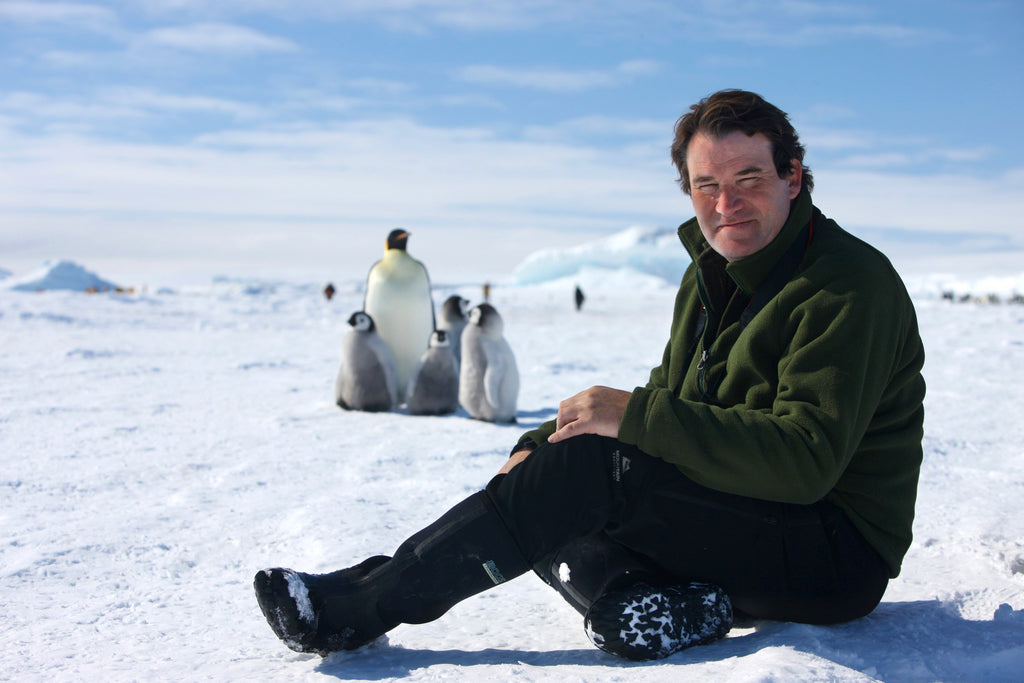 Alastair Fothergill during filming with penguins