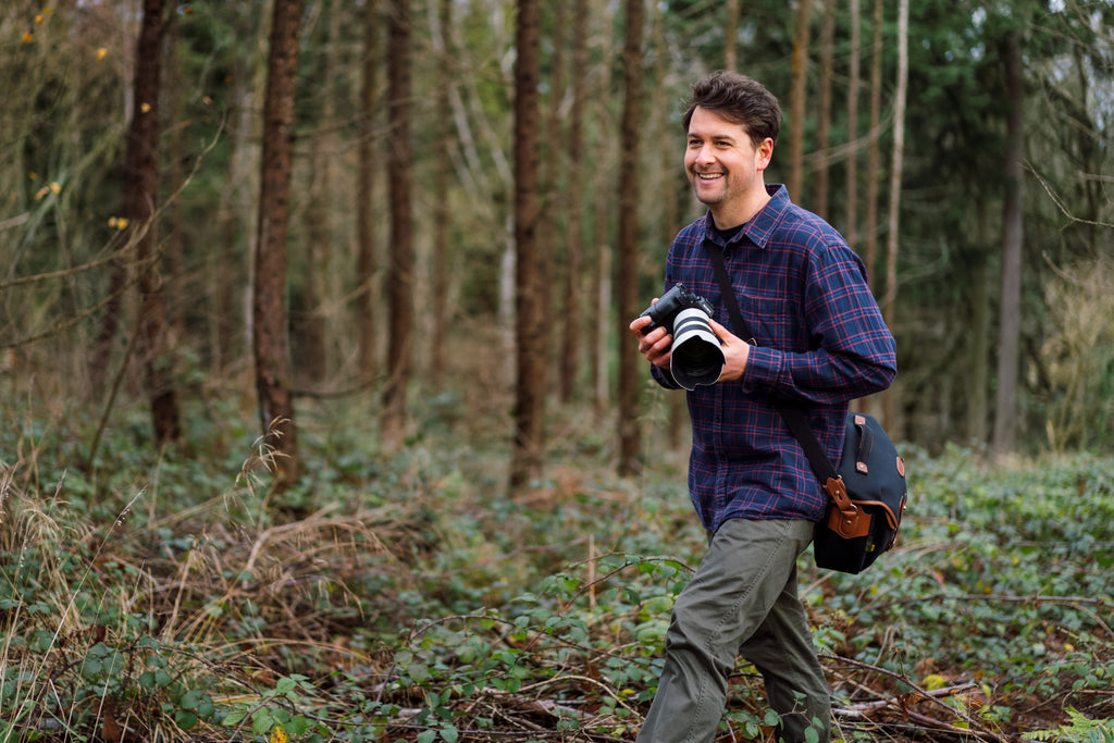 Chris Johnson on location during an outdoor clothing campaign in Pembrokeshire with his Billingham Hadley Pro 2020 Camera Bag