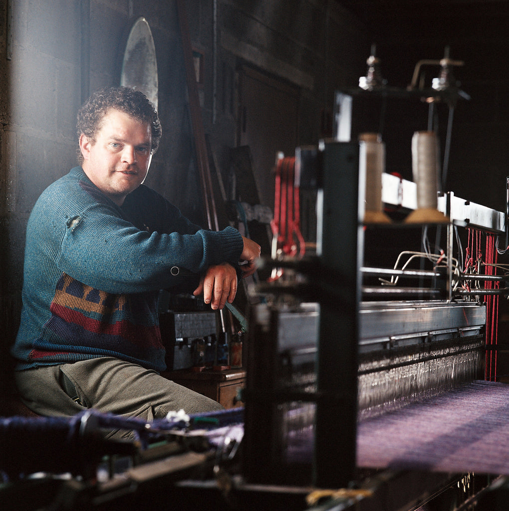 Calum in his weaving shed in Lewis, from Lara's book, 'Harris Tweed, from Land to Street' (Frances Lincoln Publishing).